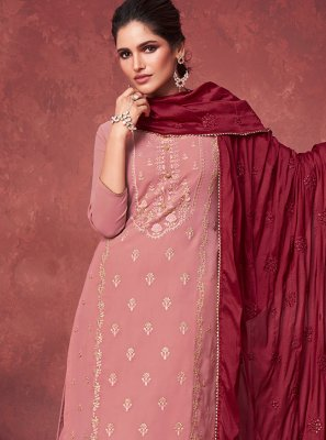 Pink Embroidered Faux Georgette Designer Palazzo Suit