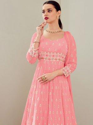 Pink Embroidered Faux Georgette Floor Length Anarkali Suit