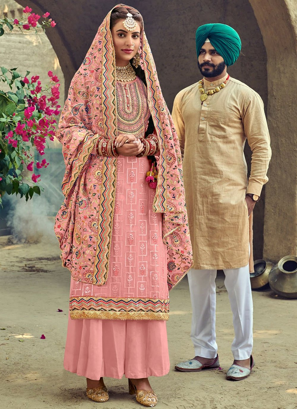 Pink Embroidered Faux Georgette Palazzo Suit