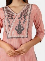 Pink Embroidered Festival Party Wear Kurti