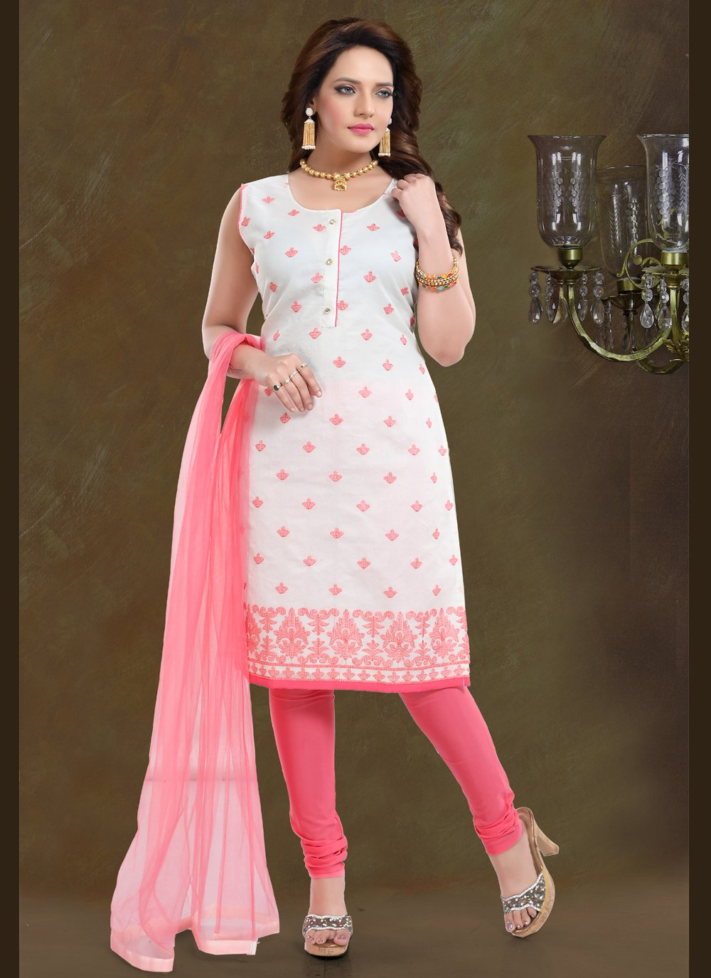 Pink Embroidered Festival Readymade Suit