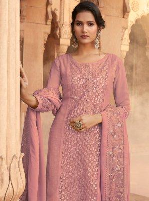 Pink Embroidered Georgette Designer Pakistani Salwar Suit