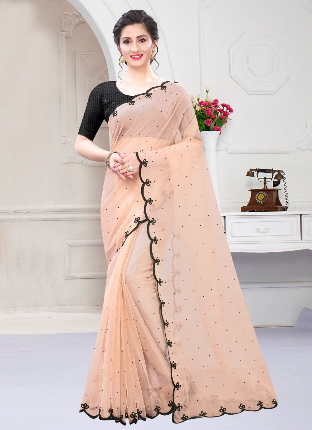Pink Embroidered Glass Tissue Designer Saree