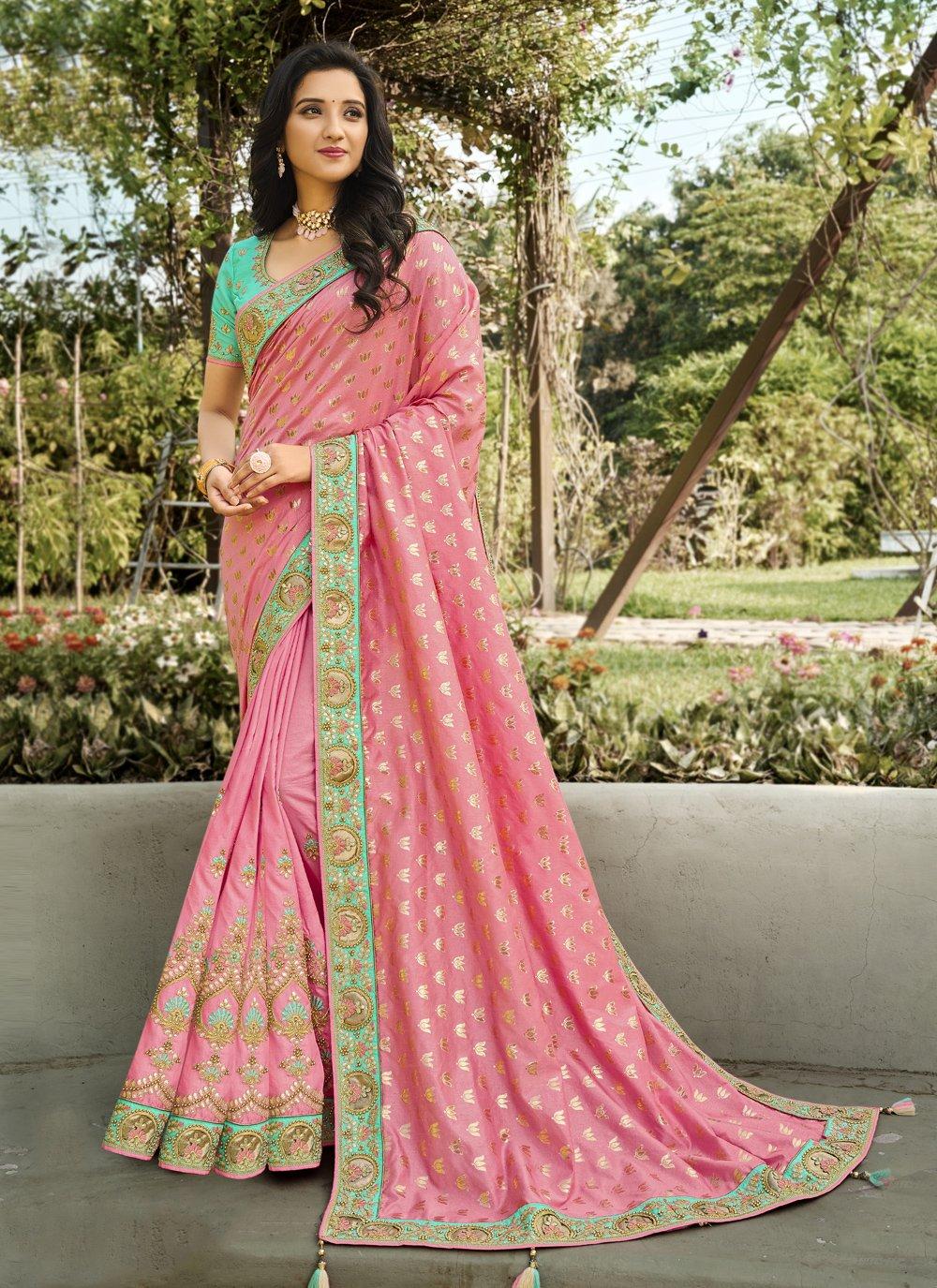 Pink Embroidered Mehndi Classic Designer Saree