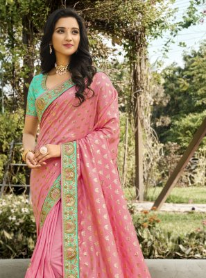 Pink Embroidered Mehndi Classic Designer Saree