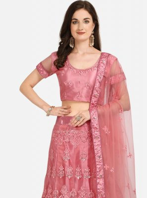 Pink Embroidered Net A Line Lehenga Choli