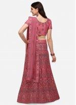 Pink Embroidered Net A Line Lehenga Choli