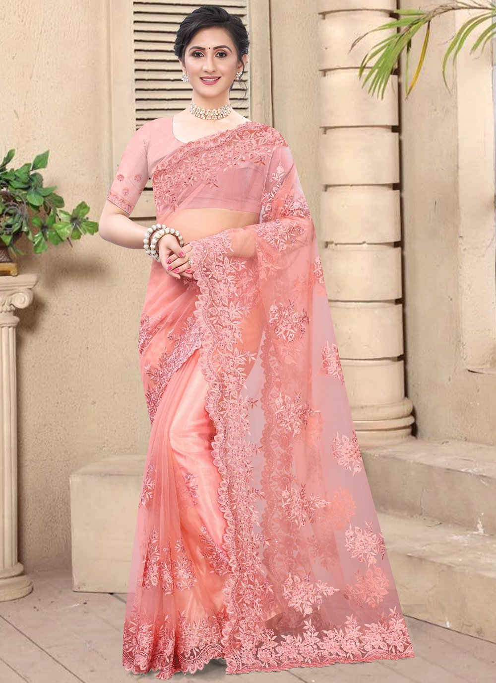 Pink Embroidered Net Classic Saree
