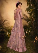 Pink Embroidered Net Floor Length Designer Suit