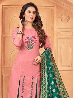Pink Embroidered Pant Style Suit