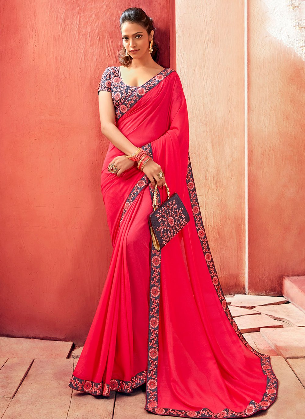 Pink Embroidered Party Designer Saree