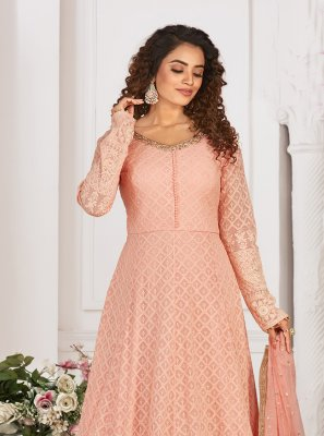 Pink Embroidered Readymade Anarkali Suit