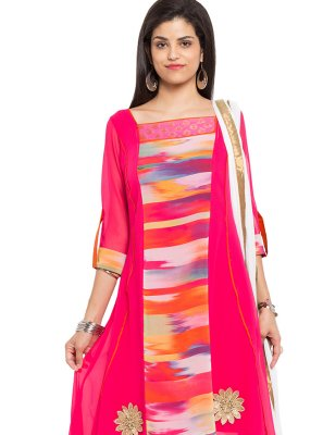 Pink Embroidered Reception Readymade Salwar Kameez