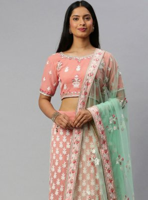 Pink Embroidered Sangeet Lehenga Choli