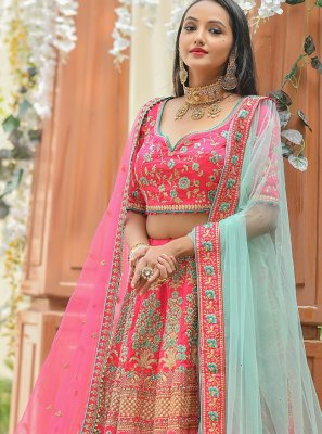 Pink Embroidered Silk A Line Lehenga Choli