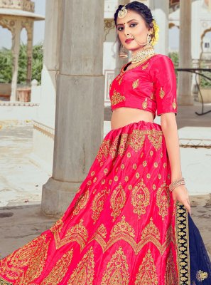 Pink Embroidered Silk Lehenga Choli