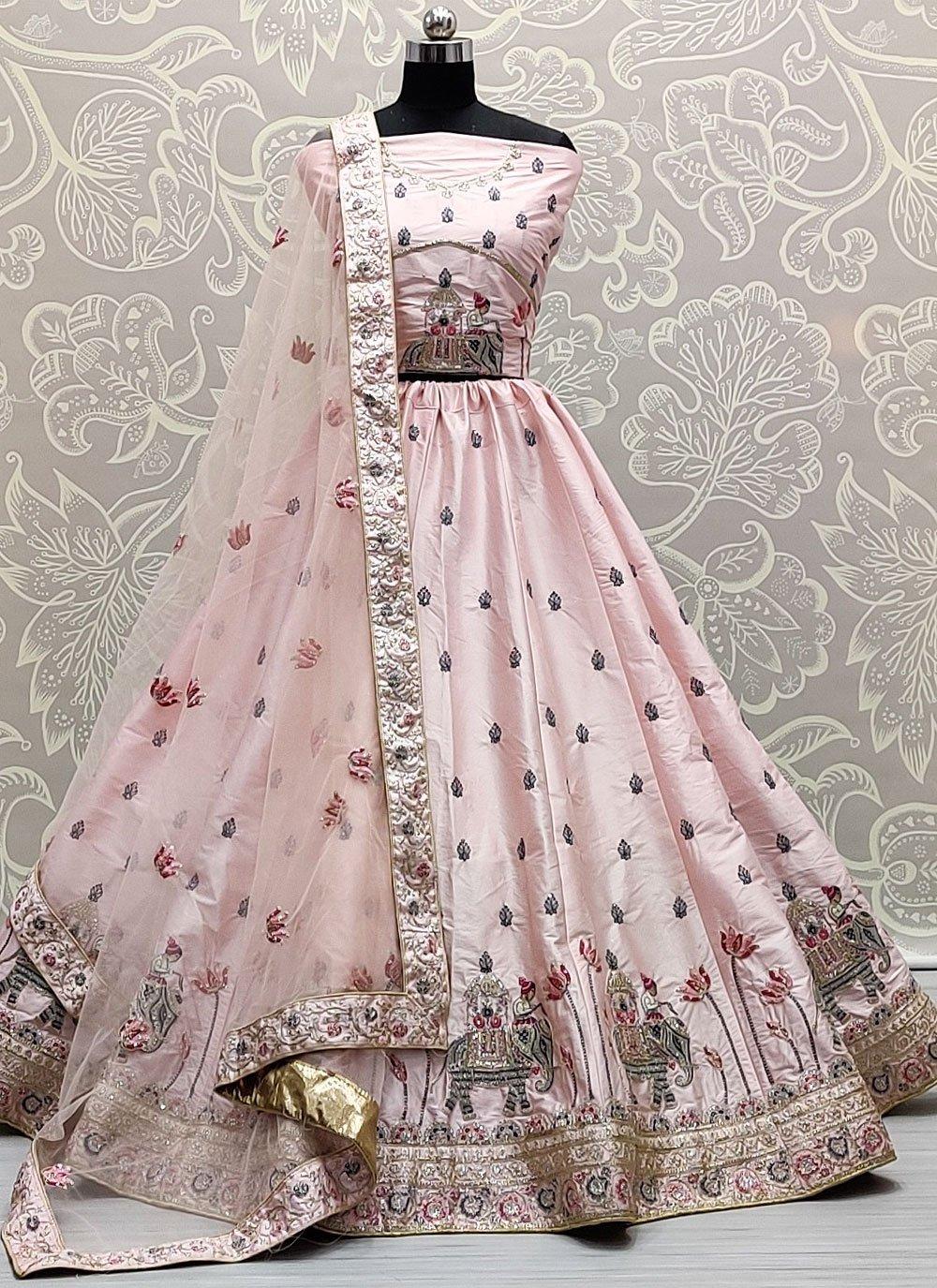 Pink Embroidered Silk Lehenga Choli