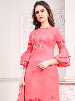 Pink Embroidered Trendy Salwar Kameez