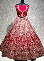 Pink Embroidered Velvet Designer Lehenga Choli