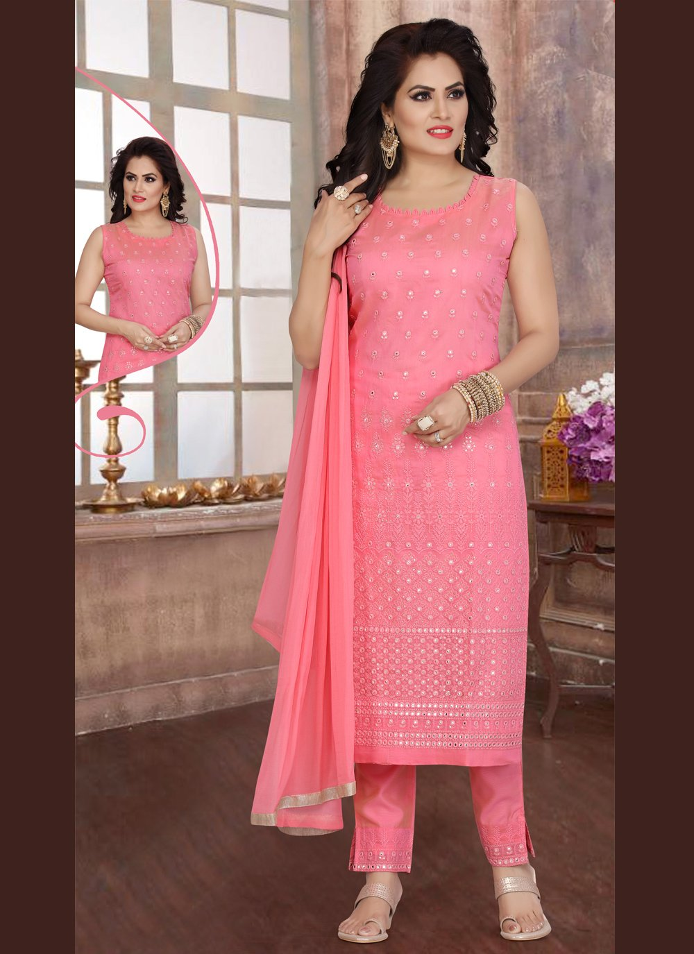 Pink Engagement Chanderi Readymade Suit
