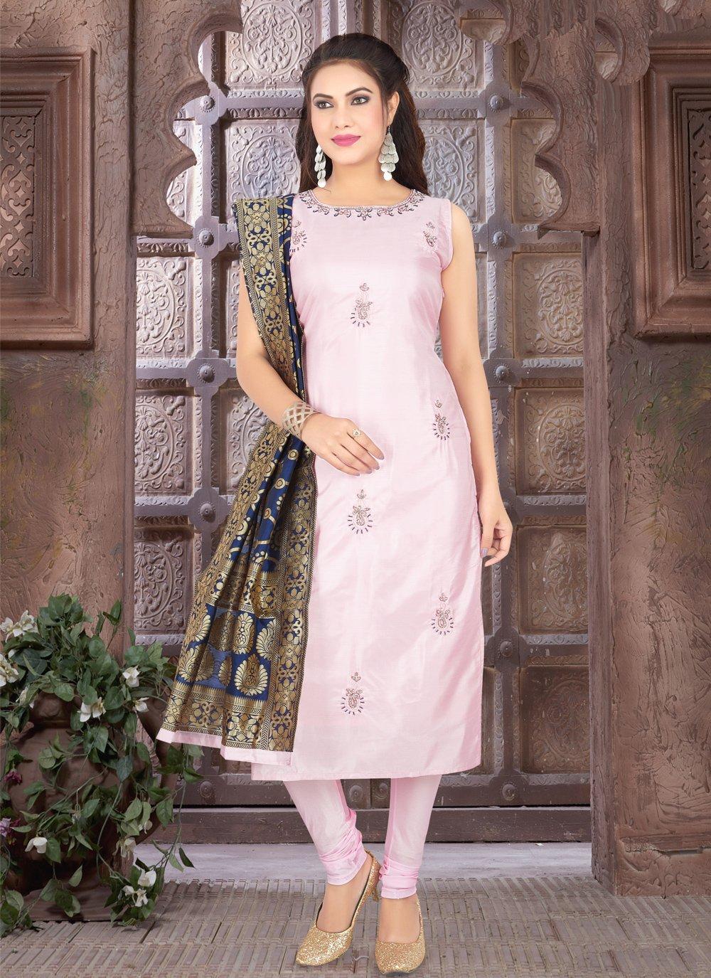 Pink Fancy Art Silk Readymade Suit