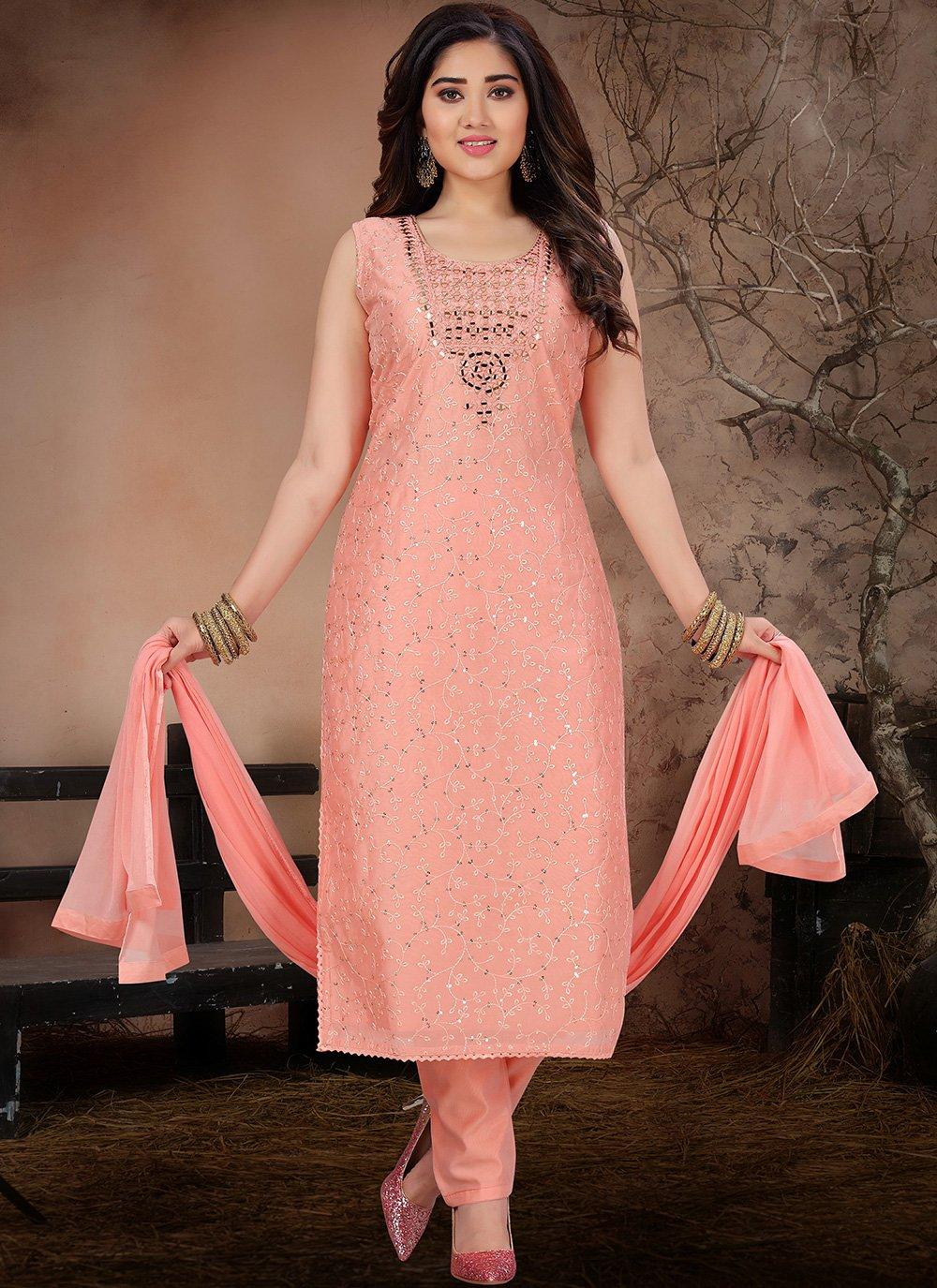 Pink Fancy Chanderi Pant Style Suit