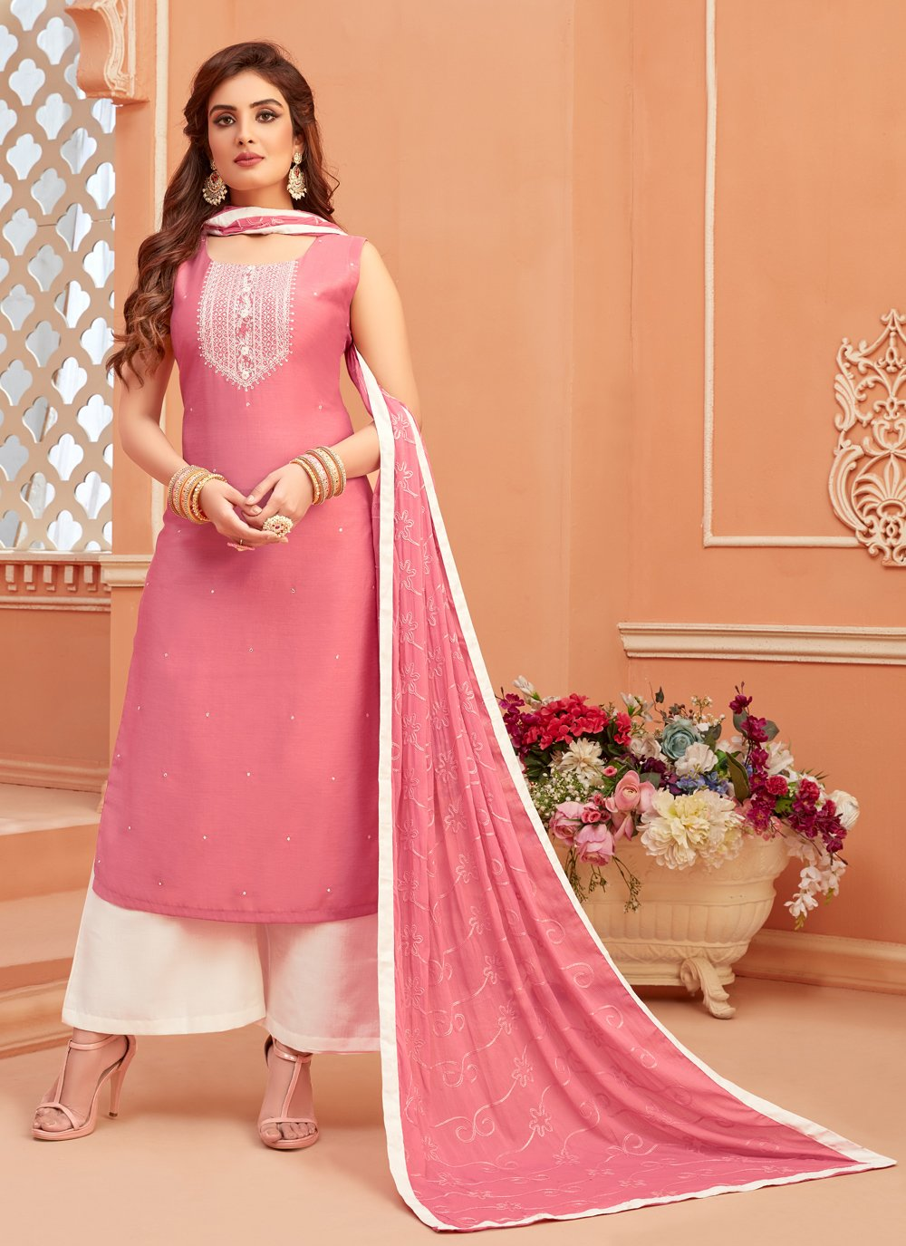 Pink Fancy Engagement Designer Palazzo Suit