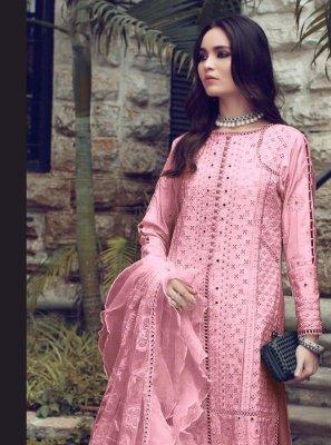 Pink Fancy Fabric Designer Straight Suit
