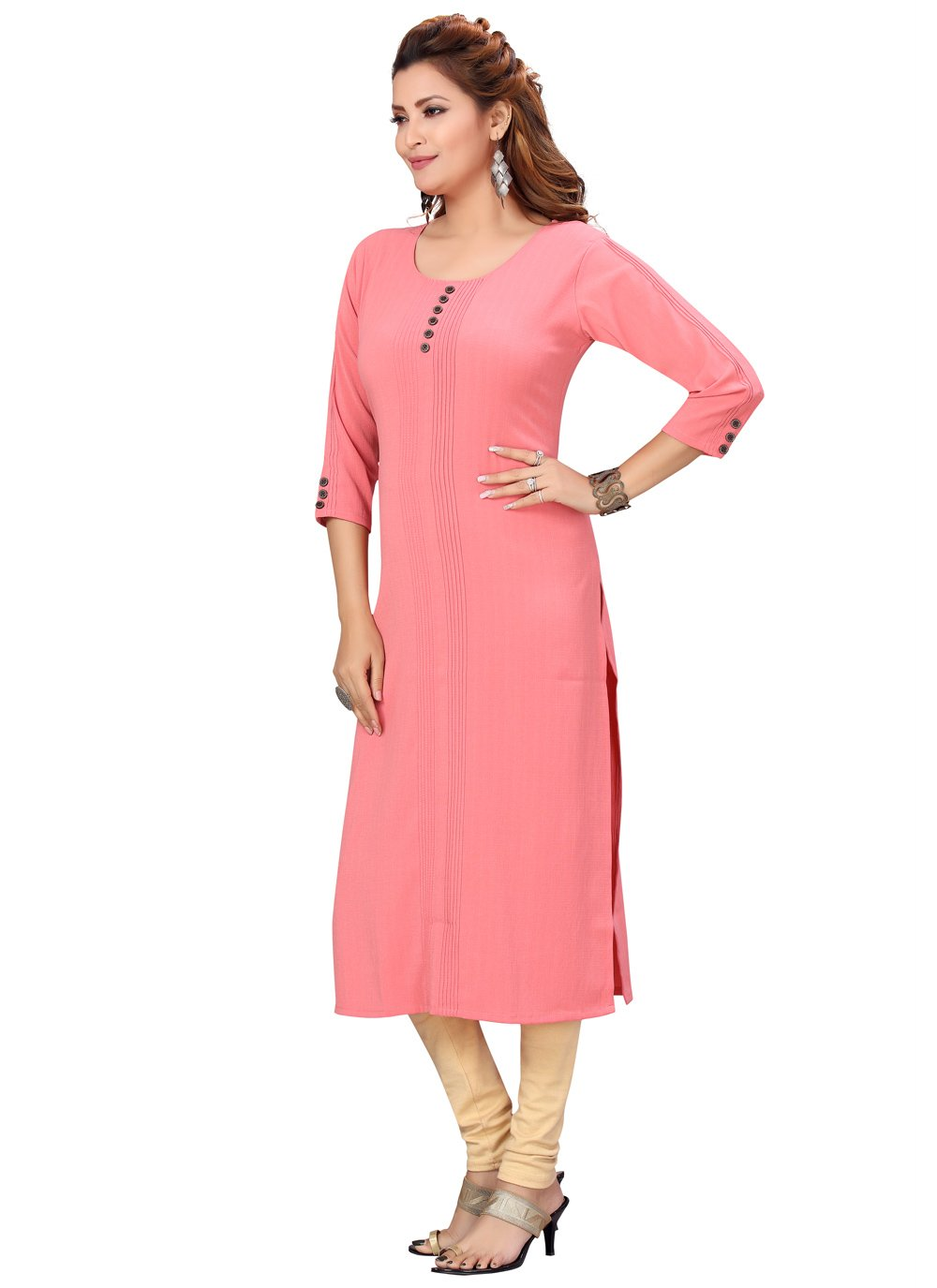Pink Fancy Fabric Festival Party Wear Kurti