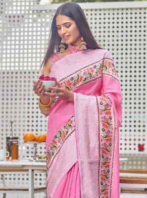 Pink Fancy Fabric Festival Traditional Saree