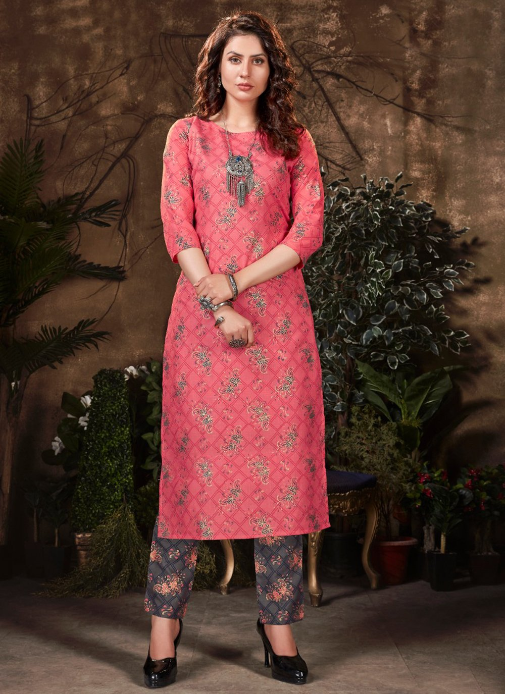 Pink Fancy Fabric Party Wear Kurti