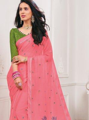 Pink Faux Chiffon Classic Saree