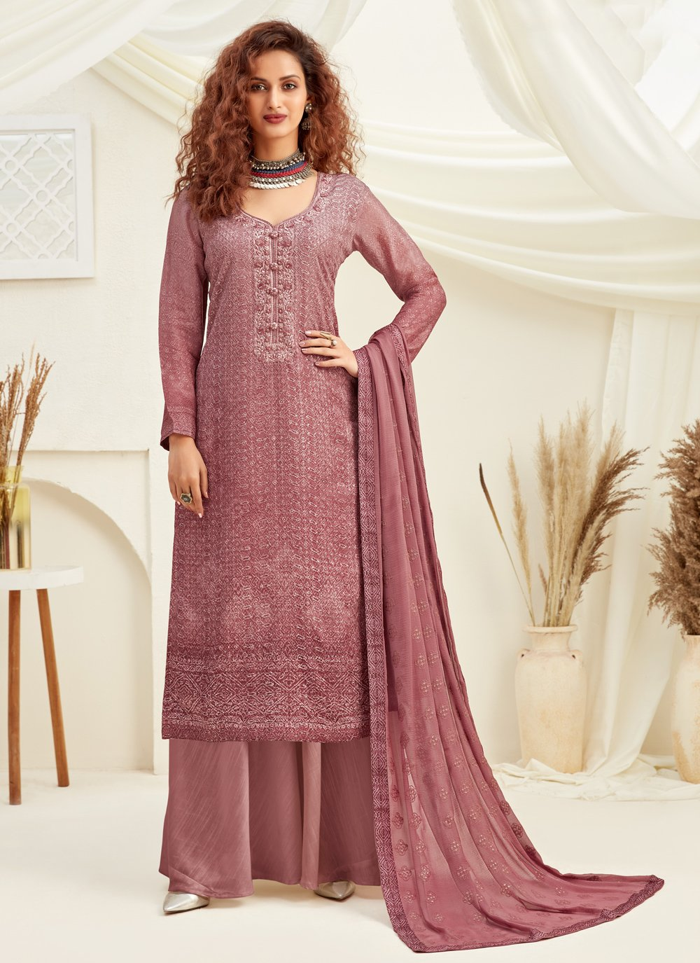 Pink Faux Chiffon Embroidered Designer Palazzo Suit