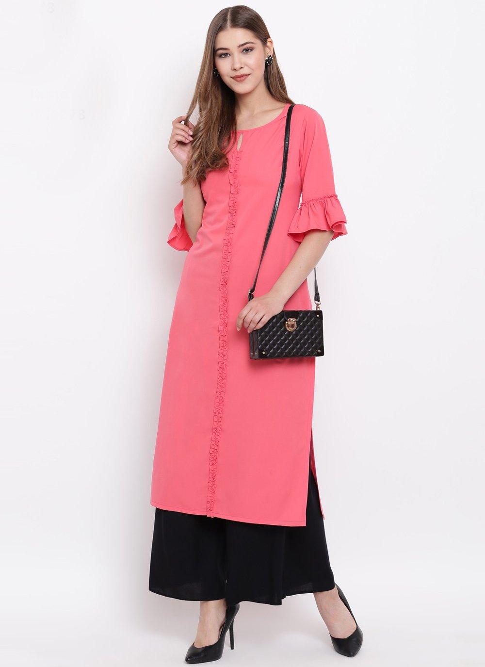 Pink Faux Crepe Party Wear Kurti