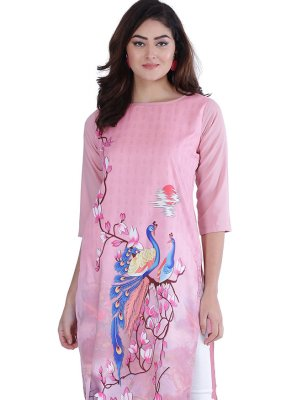 Pink Faux Crepe Print Party Wear Kurti