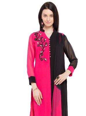 Pink Faux Georgette Embroidered Readymade Salwar Kameez