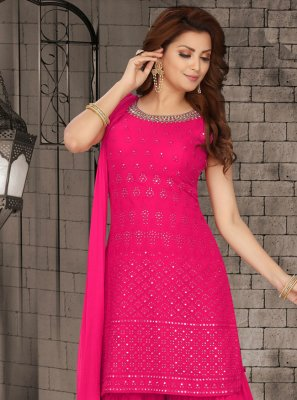 Pink Faux Georgette Mehndi Readymade Suit