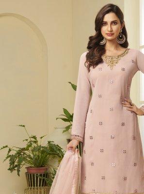 Pink Faux Georgette Resham Designer Palazzo Suit