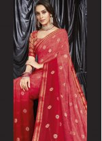 Pink Faux Georgette Shaded Saree