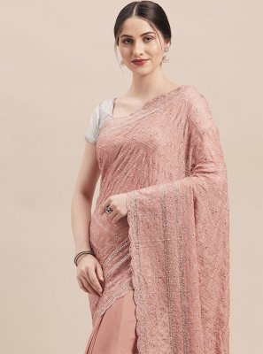 Pink Faux Georgette Trendy Saree