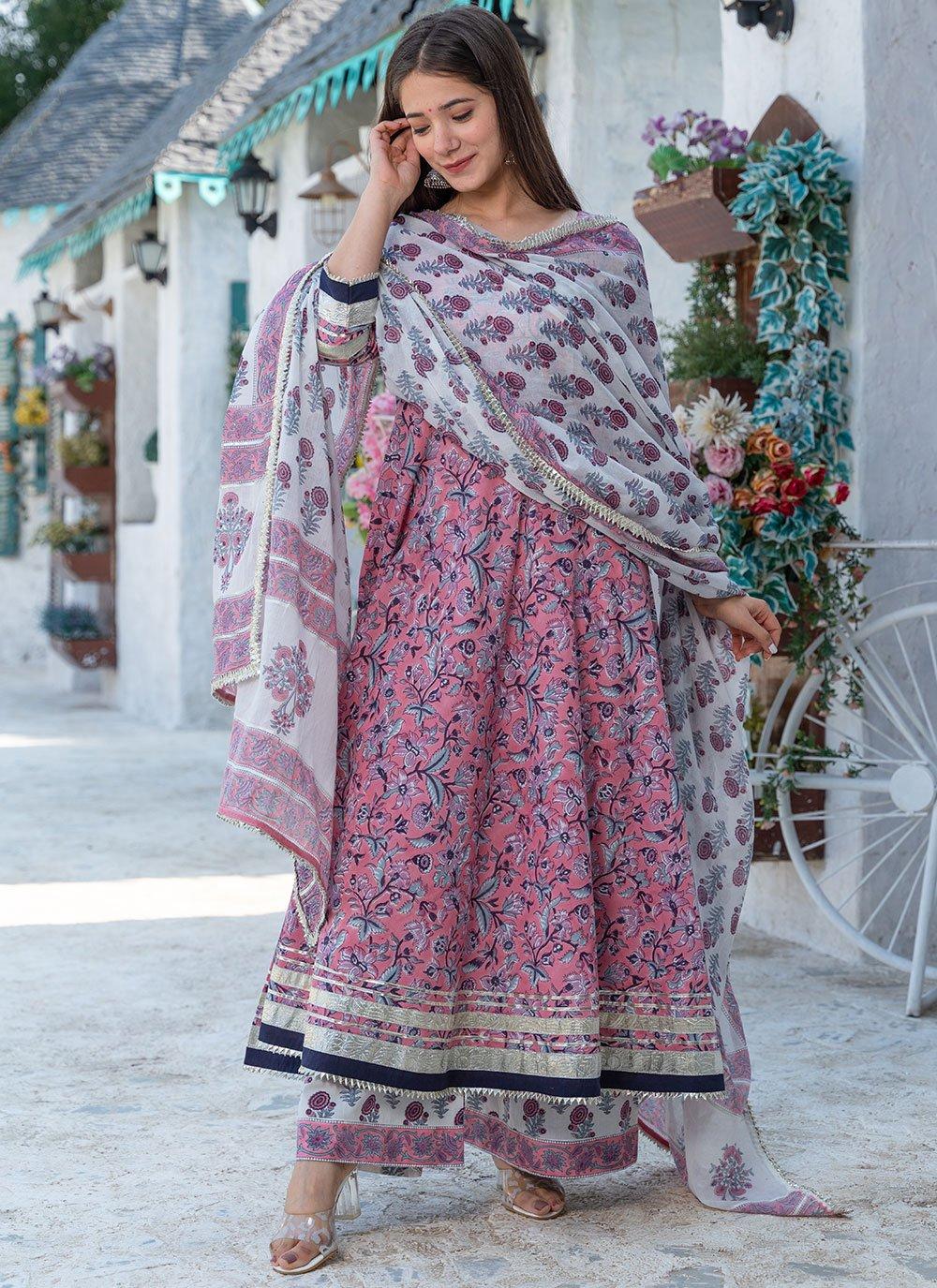 Pink Festival Cotton Designer Suit