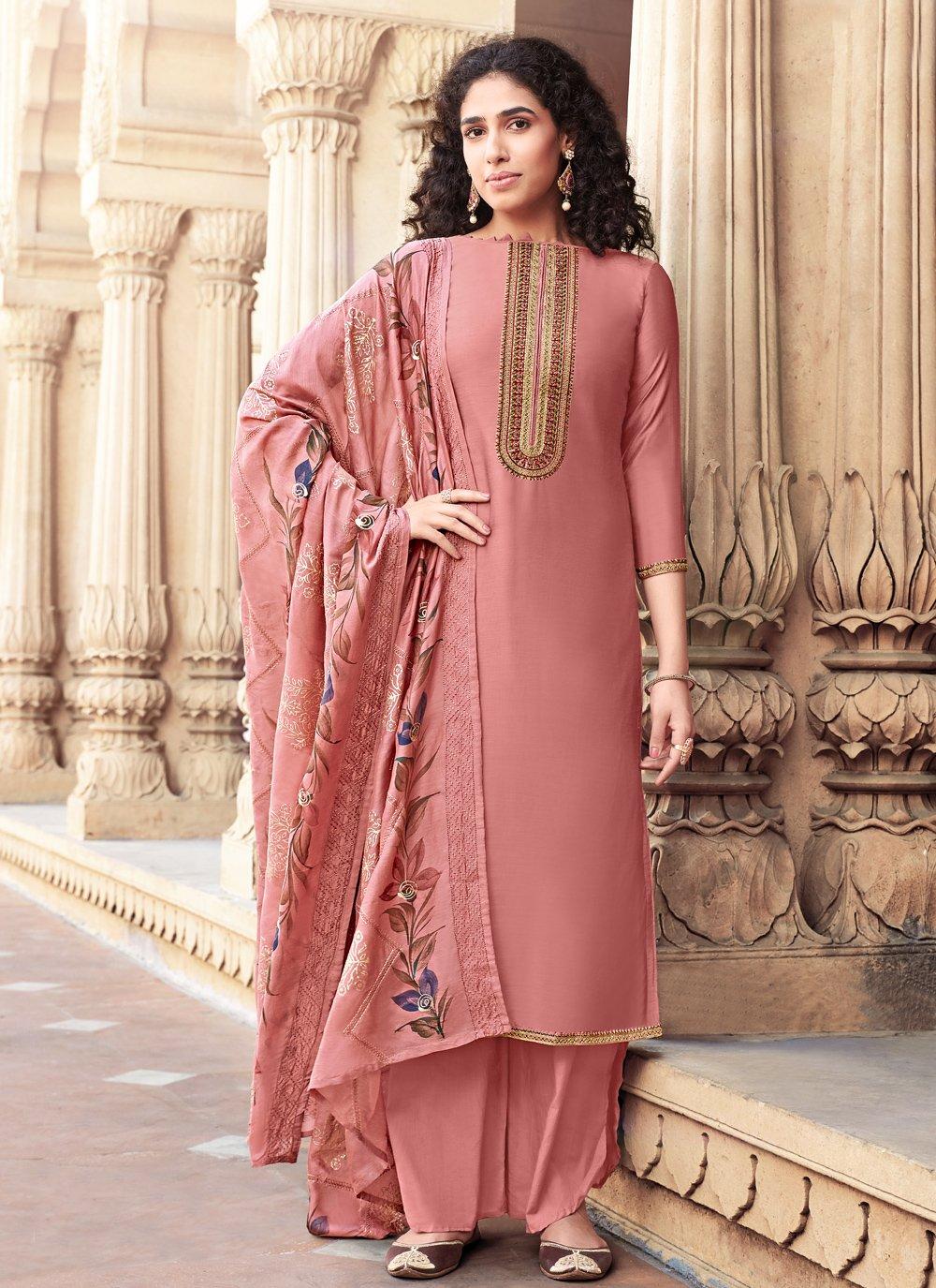 Pink Festival Designer Palazzo Salwar Suit