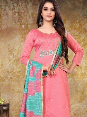 Pink Festival Designer Straight Salwar Suit
