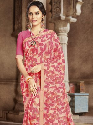 Pink Festival Faux Georgette Casual Saree