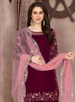 Pink Festival Velvet Designer Patila Salwar Suit