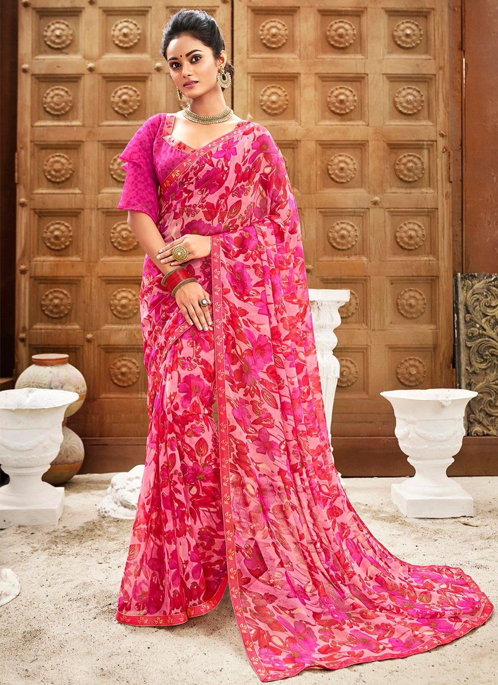 Pink Floral Print Classic Saree