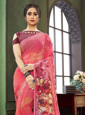 Pink Floral Print Faux Georgette Traditional Saree