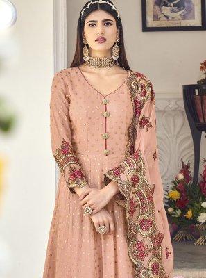 Pink Georgette Engagement Floor Length Anarkali Salwar Suit