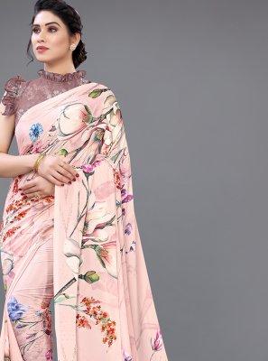 Pink Georgette Satin Designer Saree