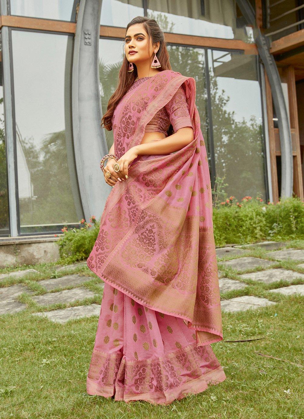 Pink Handloom Cotton Engagement Traditional Saree